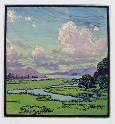 (This Joyous World, woodblock print by Frances   Gearhart, 1869-1958, American artist)