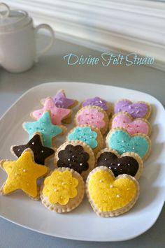 Tea Party Felt Cookie set-Felt Food-Pretend Play Felt Cake, Felt Cupcakes, Fairy Tea Parties, Tea Party, Pretend Food, Pretend Play, Felt Food Patterns, Felt Play Food, Icing Colors