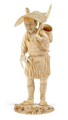 japanese okimono | Japanese ivory okimono of a farmer, late Meiji period wearing ...
