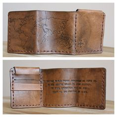 Walter Mitty Life Motto World Map Leather Wallet  by PurelyPoiema - best motto to live by