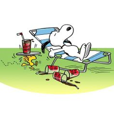 Snoopy: A warm summer day, comfortable chair and enjoying a little root beer.