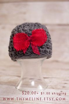 Newborn crochet Valentines Hat with burlap red bow by thymeline, $20.00