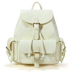 Yoins Drawstring Waisted Parka (€52) ❤ liked on Polyvore featuring outerwear, coats, bags, backpacks, yoins, bolsas, beige, handbags, beige bag and rucksack bag