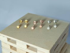 star earrings, stud earrings, gold stars, sterling silver 925, stars, gold-plated stars, rose gold stars, silver stars, black stars,handmade by Fragkiski on Etsy Tiny Stud Earrings, Rose Gold Earrings, Star Earrings, Jewellery Earrings, Unisex Gifts, Tiny Star, Quartz Ring, Girls Jewelry, Silver Stars