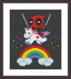 Deadpool and Unicorn Funny Cross Stitch PDF Pattern Baby