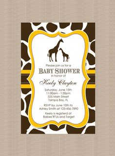 Printable Giraffe Baby Shower Invitation  Gender by Honeyprint