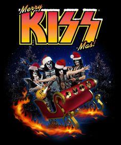 Merry Kissmas Band Cotton Vintage Short Sleeve Black Men T-Shirt - LibeTee Kiss Rock Bands, Kiss Band, Paul Stanley, Gene Simmons, Los Kiss, Heavy Metal, Comic Cat, Kiss Online, Merry Kissmas