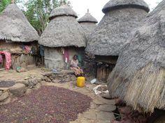 Хижины сборщиков кофе. Здесь же они сушат зерно