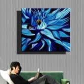 Blue black flower canvas painting .. from Google Images