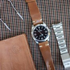Shell Cordovan Whiskey color on a Rolex Explorer 1 Reference 214270 Also in the picture, a bespoke and handmade Passport holder Diesel Watches For Men, Best Watches For Men, Rolex Watches For Men, Modern Watches, Automatic Watches For Men, Casual Watches, Cool Watches, Dream Watches, Rolex Explorer Ii