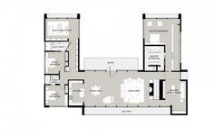 U Shaped House Plans Single Level Home Ideas Floor Within