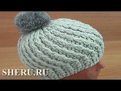 Теплая ажурная шапка  со спиральками крючком - YouTube