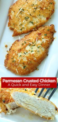 easy chicken recipes This Parmesan Crusted Chicken is an easy meal idea. We use pounded thin chicken breasts, coat in a delicious Parmesan coating, and then fried to make them crispy. Add this chicken idea to your dinner this week. Easy Chicken Recipes, Meat Recipes, Cooking Recipes, Easy Yummy Recipes, Thin Chicken Cutlet Recipes, Healthy Chicken Meals, Easy Dinner Recipies, Delicious Dinner Recipes, Recipe Chicken