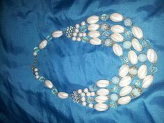 Blue & Cream glass beaded necklace by SarahJVintage on Etsy, £12.95