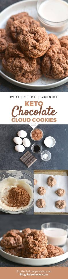 Bake these dark chocolate cloud #cookies for a keto-friendly treat. Get the full recipe here: http://paleo.co/cloudcookies