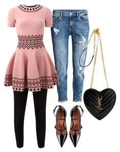 """Pink & Casual!!"" by la-harrell-styling-co on Polyvore featuring Ted Baker, Alexander McQueen, RED Valentino and Yves Saint Laurent"