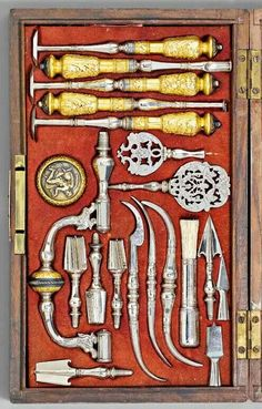 Surgical instruments and trepanning set, 19th century, France.