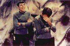 Star Trek bones & Spock. Love this pic!