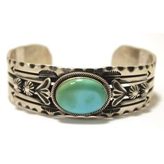 Navajo Turquoise Sterling Silver Cuff Bracelet Delbert Gordon ❤ liked on Polyvore featuring jewelry, bracelets, navajo jewelry, cuff bangle, sterling silver cuff bangle, turquoise bangle and sterling silver bangles