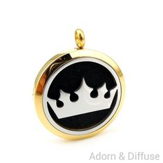 Crown Diffuser Locket Necklace ~ Gold