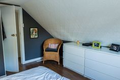 For the eventual attic bedroom, love the use of the low ikea dressers