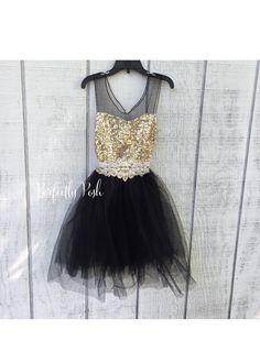 Black & Gold Dress, Flower Girl Dress, Black and gold sequin dress, baby girls…