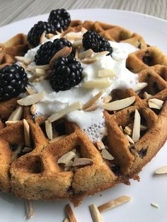 Fluffy Blackberry Toasted Almond Waffles: With fresh blackberries and toasted almond slivers, these waffles have the texture of pound cake and a little crunch!