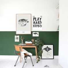 working corner with green wall at home of Maaike Koster artist/stylist Baby Boy Rooms, Baby Boy Nurseries, Happy New Home, Baby Room Design, Bedroom Green, Kidsroom, New Homes, Indoor, House Design
