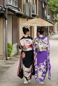 "kagayuzen: ""Kanazawa Japan "". Those kimonos are so beautiful. I would love to visit Kyoto and Kanazawa someday."