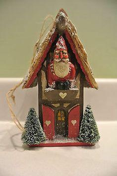 Pam Schifferl Santa Bird house Ornament Midwest of Cannon Falls Folk Art Gallery