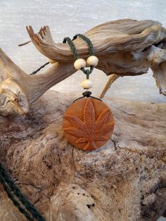Happy Leaf. Olive wood necklace by ValleyWWKing on Etsy