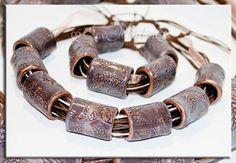 jewelry polymer clay Ethnic big beads ethnic by JewelryflowersVS