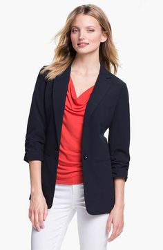 MICHAEL Michael Kors Ruched Sleeve Boyfriend Jacket available at Nordstrom
