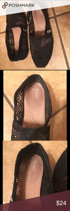 TOMS ~ Black Lace Great condition....only worn a few times as you can see in pix of inside of shoes. Gold printing is still in tack and legible ... TOMS Shoes Flats & Loafers