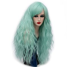 Alacos Fashion Lolita Style 70CM Long Curly Synthetic Cosplay Harajuku Wig for Women Cap Mint Green >>> Click for Special Deals #HarajukuFashionJapan