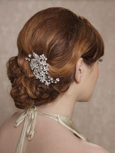 Silber Crystal Hair Stück Hochzeits-Haar-Kamm von GildedShadows