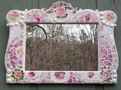 Fabulous Mosaic Tile Mirror Shabby Cottage Chic with Pink Roses by hillspeak, via Flickr