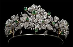 Diamond And Emerald Tiara By Mellerio dits Meller   c.1850 - Belonged To The Descendants Of Eugene de Beauharnais