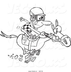 Vector of a Cartoon Jockey Man Racing a Horse - Outlined Coloring ...