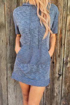 Casual Short Sleeve Hooded Pocket Design Dress For Women
