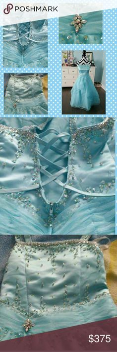 A crystal ice blue girl's dress A crystal ice blue girl's size 12 dress.  Great  princess dress for pageants, weddings, Mardi gras balls, flower girl or simply for dress up! Worn only once. Dresses