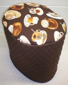 Chocolate Brown Quilted Coffee Theme Cover for K45, B60 Elite & K65 Special Edition Keurig Coffee Maker