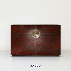 Straw Marquetry Cabinet with Brushed Brass frames and handles, Custom made in France, Jallu Ebenistes design