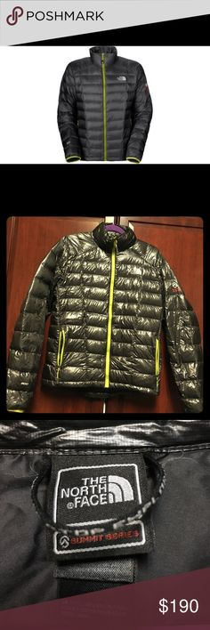 Authentic The North Face men's diez jacket Lightly worn, excellent condition. Gray with green accents and zipper A slick, water-repellent finish coats a lightweight 800 fill goose down jacket with a sleek, modern style accented in pop colors. Two-way zip closure. Side zip pockets. Lined with polyester. Nylon with 800  fill goose down; machine wash. Stock photo for illustration purposes only. The summit series jacket by the North Face is made of shiny material. The North Face Jackets & Coats…