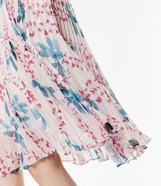 Karen Millen, Floral Pleated Dress Pink/Multi