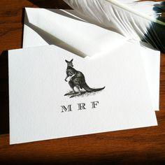 New to VeronicaFoleyDesign on Etsy: Kangaroo Stationery with Monogram - Set of 10 100% Cotton Savoy (18.00 USD)