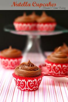 Nutella cupcakes with Nutella frosting from Roxanashomebaking.com Moist, tender, sweet cupcakes with lots of Nutella flavor topped with a sm...