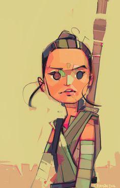 'Rey' ('Rey-a-Day' series) by Michael Firman Rey Star Wars, Star Wars Fan Art, Saga, Character Art, Character Design, Star Wars Girls, Episode Vii, Love Stars, Cultura Pop