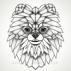 Art work inspired by my dog. Pomeranian Grimm geometric triangle tattoo abstract