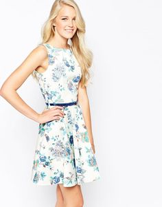 Image 1 of Closet Belted Skater Dress in Bird and Flower Print